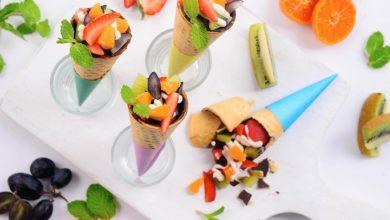 salad buah coklat cone